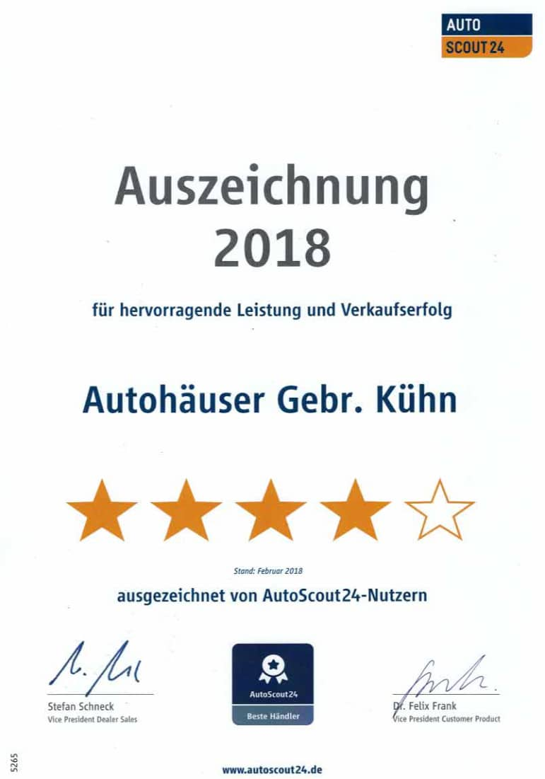 Auszeichnung Autoscout24 2018